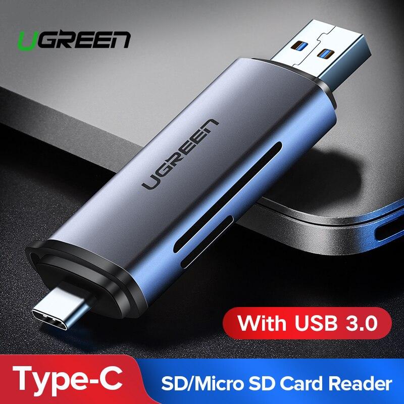Ugreen lecteur de cartes USB 3.0 SD/Micro SD TF OTG Smart Carte Mémoire adaptateur pour ordinateur portable USB 3.0 Type C Lecteur De Cartes lecteur de carte SD