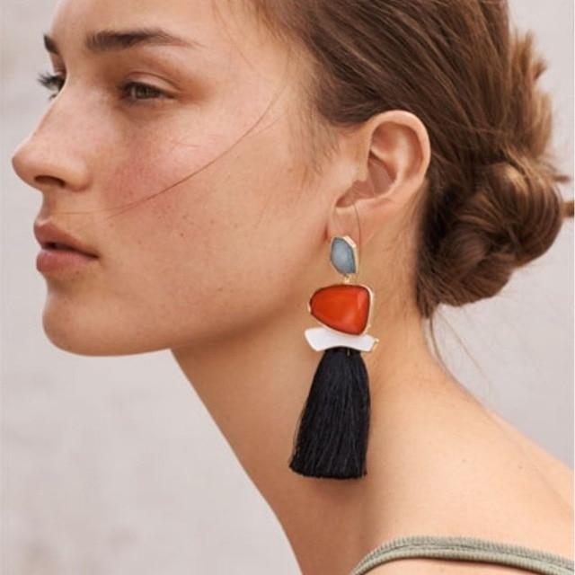 JUJIA trendy statement fashion earrings rope tassel drop dangle MULTICOLOURED POMPOM EARRINGS women jewelry Fringing earrings