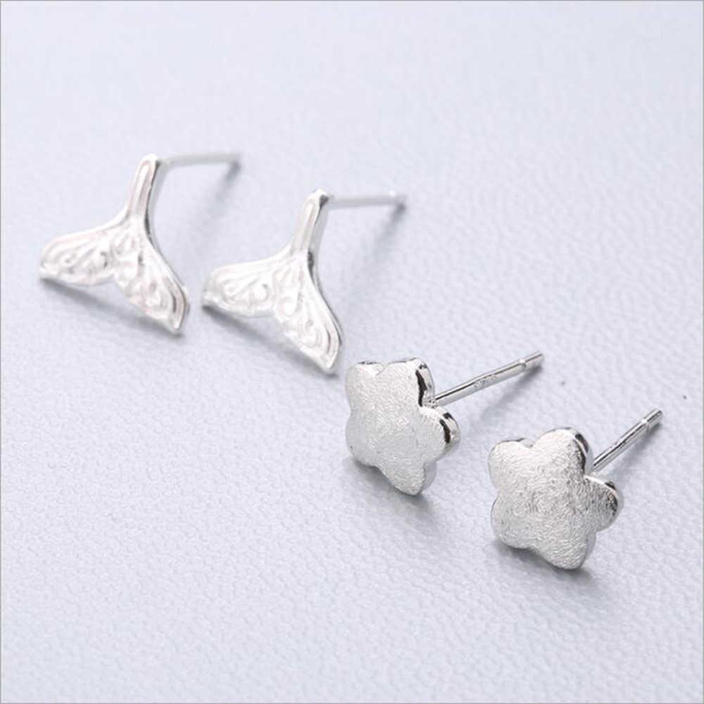 XIYANIKE ホット販売かわいい動物スタッドピアス 925 スターリングシルバー耳針シンプルなファッションジオメトリ女性のギフト 37 -54