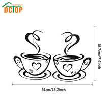 Double Coffee Cups Wall Stickers