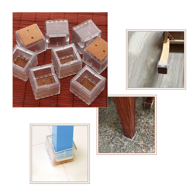8pcs Square Silicone Chair Leg Caps Feet Pads Furniture Table Covers Wood Floor Protectors 38