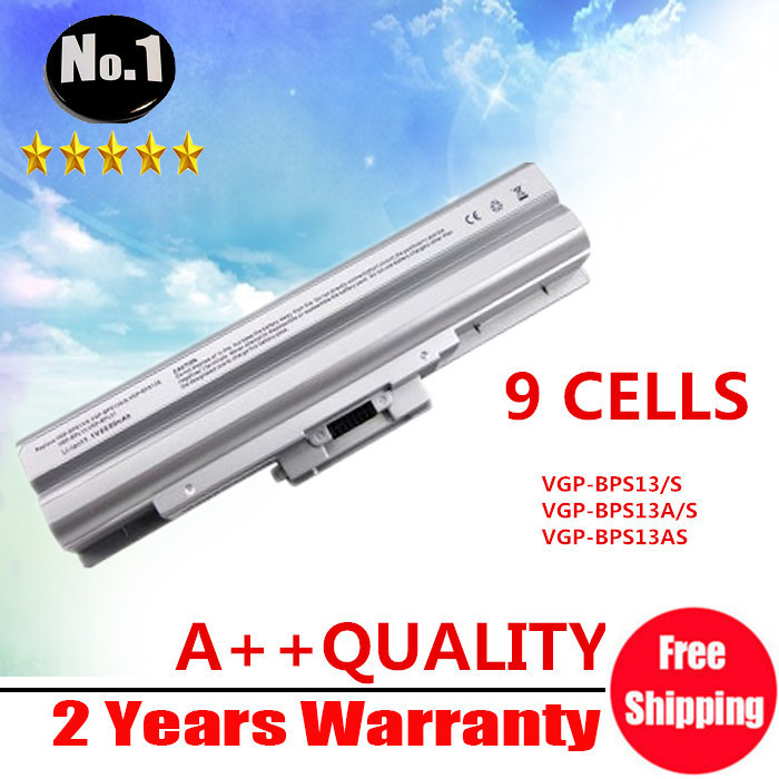 Wholesale SILVER 9cells Laptop battery for SONY VAIO SR VGN SERIES VGP-BPS13 VGP-BPL13 VGP-BPS13A/B VGP-BPS13B/B Free shipping genuine for sony battery vaio z series vgp bps27 vgp bps27 b vpcz21v9e black free shipping