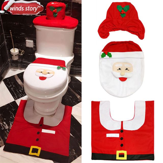 Christmas Decorations Bathroom WC Red Santa Claus Toilet Seat Cover And Rug Flannel