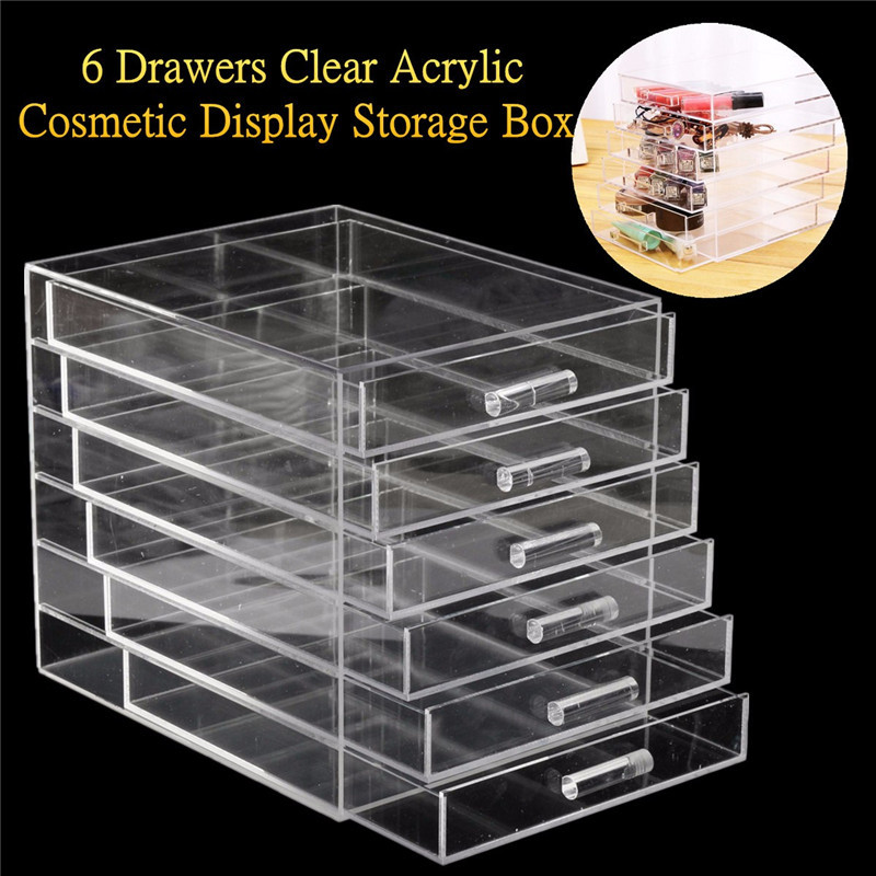 Large 6 Drawers Transparent Acrylic Storage Case Drawer Insert Cosmetic  Nail Brush Jewelry Display Makeup Organizer Box In Nail Art Equipment From  Beauty ...