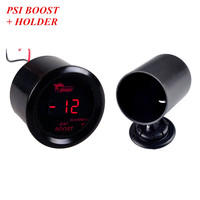 EE support Car Universa 2 52mm Turbo Boost Gauge Black Shell Digital Clock Red LED PSI Boost Meter + Holder XY01