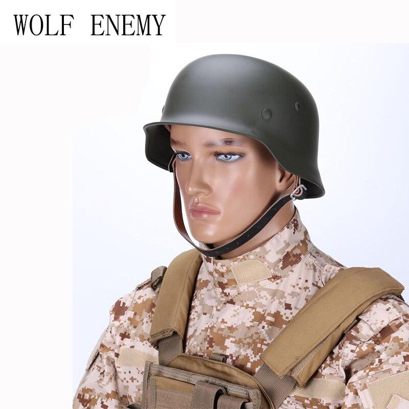 Tactique Casque Allemand Armée Classique Bourgmestres OD M35 Police Militaire En Plein Air CS Jeu de Guerre Airsoft/Paintball Casque D'acier