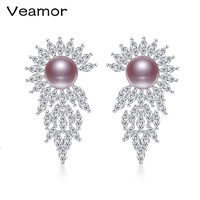 VEAMOR Top Quality Luxury Earrings 925 Sterling Silver Drop Earrings Pearl Jewelry Made with Genuine Austrian Crystal Wholesale
