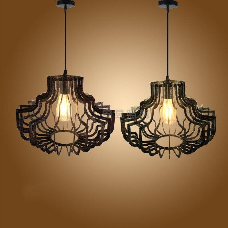 Européen rétro fer oiseau cage suspension lampe Vintage forgé E27 lanterne pendentif lumières pour Restaurant hôtel Villa thé couloir - 6