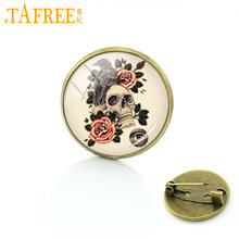 TAFREE Skeleton Raven Brooches Pins Popular Glass Cabochon Pins Black Raven Birds Badge Gothic Brooches Jewelry T562(China)