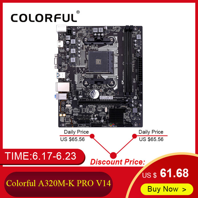 Colorful C.A320M-K PRO V14 iGame Motherboard AMD M-ATX Ryzen Processors Gaming A320 Mainboard For Socket AM4 DDR4 USB3.0 SATA3.0