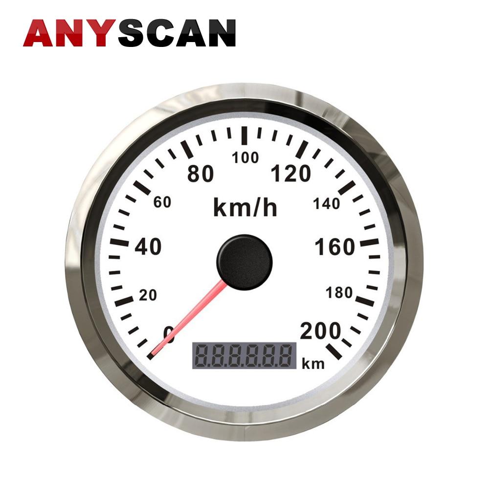 85mm GPS Stainless Speedometer 0-200 KM/H Waterproof Speed Gauge Auto Meter For Car Truck Motor 12V 24V 85mm 200 km h gps speedometer digital gauge for car truck boat 12v 24v waterproof digital gauge with turning indicator