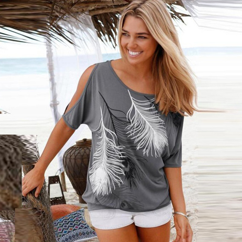 2019 Summer Women Blouses Casual Short Sleeve Tops Tees Sexy Off Shoulder O neck Feather Print