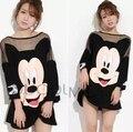 4XL más el tamaño blusas feminina primavera verano 2016 de moda de corea camisetas de las mujeres vestido lindo negro loose mickey vestido hembra A0591