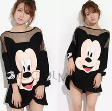 4XL plus size blusas feminina spring summer 2016 korean fashion women t shirts dress cute black loose mickey dress female A0591