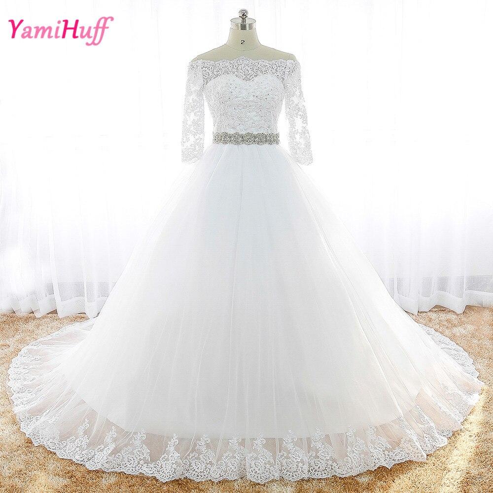 Luxury Civil Wedding Dresses Princess Long Sleeve Off