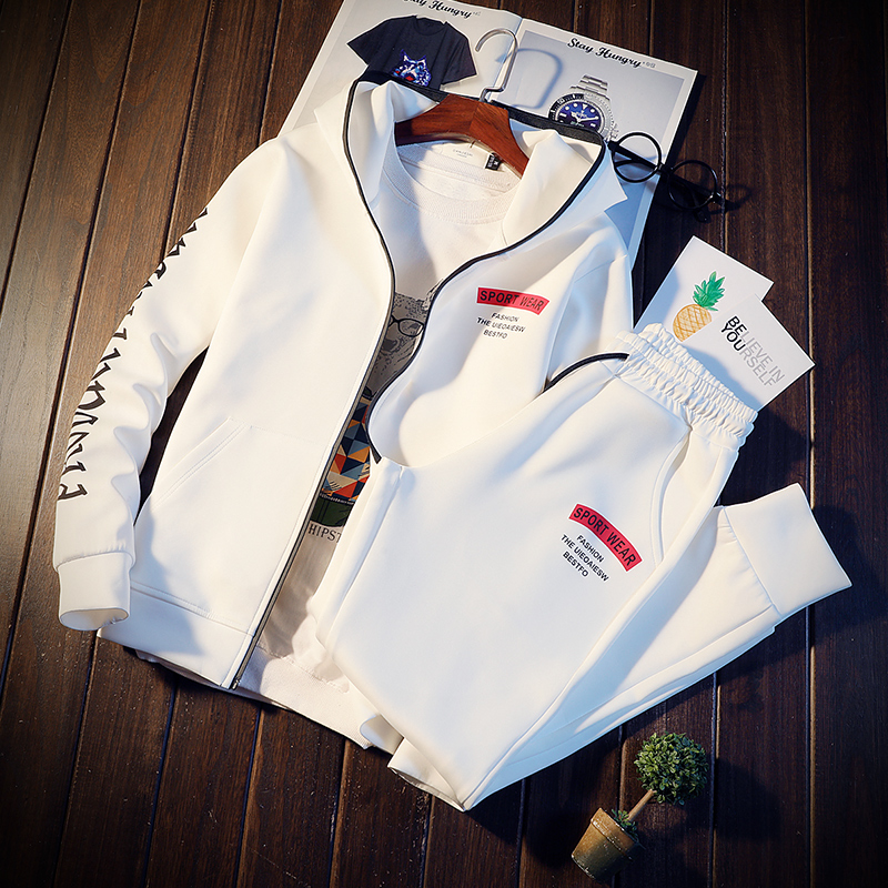 Spring Autumn Hooded Sweatshirts Men's Sets Teenage Hooded Cardigan Suit Mens Tracksuits Jacket + Pants