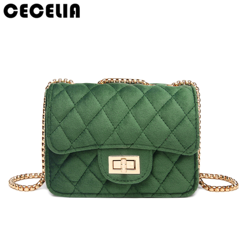 Cecelia Classic Woman Velour Shoulder Bag Female Vintage Mini Flap Bag Small Chain Quilted Famous Brand Designer Handbag mini gray shaggy deer pvc quilted chain bag with cover real picture