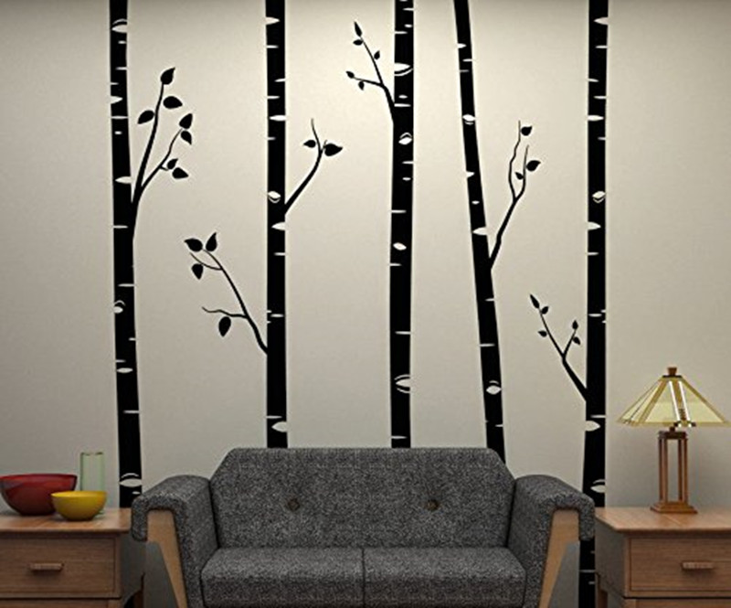 5 Large Birch Trees With Branches Wall Stickers For Kids Room Removable Vinyl Wall Art Baby Nursery Wall Decals Quotes D641B
