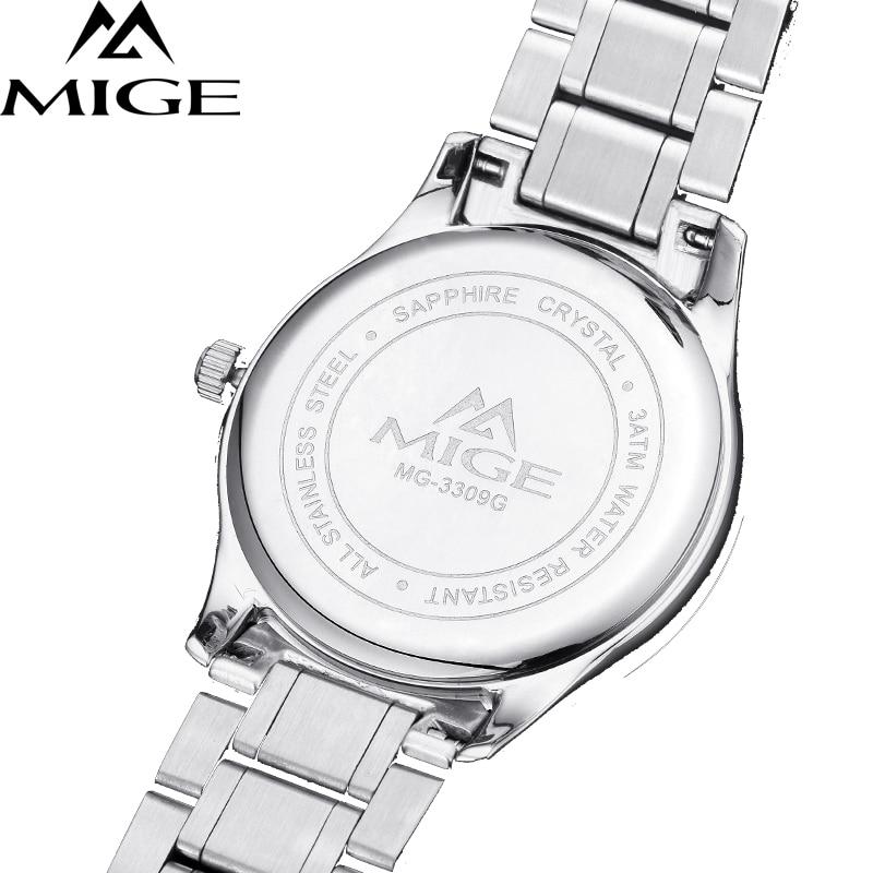 Mige 2017 настоящая Новинка распродажа мужские часы Белый Черный Коричневый кожаный бизнес водонепроницаемый корпус из розового золота ультра... - 3