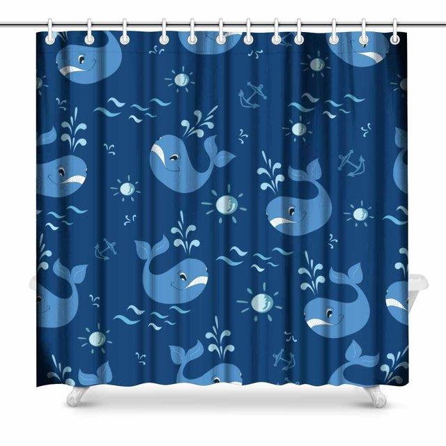 Aplysia Cartoon Whale Art Bathroom Decor Shower Curtain With Hooks 72 X Inches