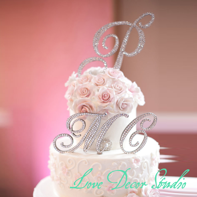 Crystal Shiny Custom Letter Wedding Cake Topper Wedding Keepsake