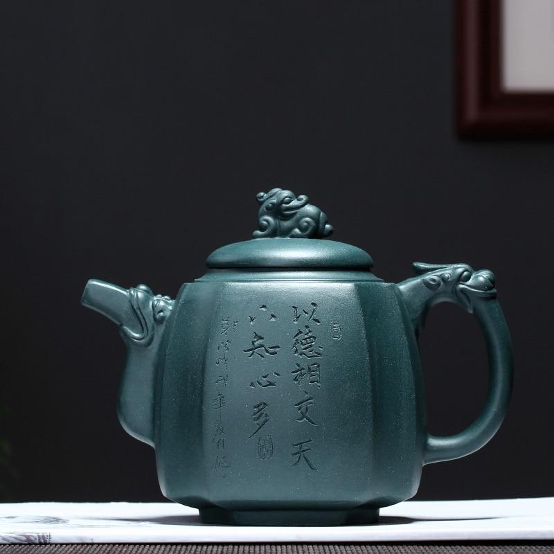 "PINNY 550 ml Yixing arcilla Púrpura ""Dragón"" tetera mineral Natural verde barro tetera hecha a mano Kung Fu juego de té artesanías de arena púrpura-in Teteras from Hogar y Mascotas    1"