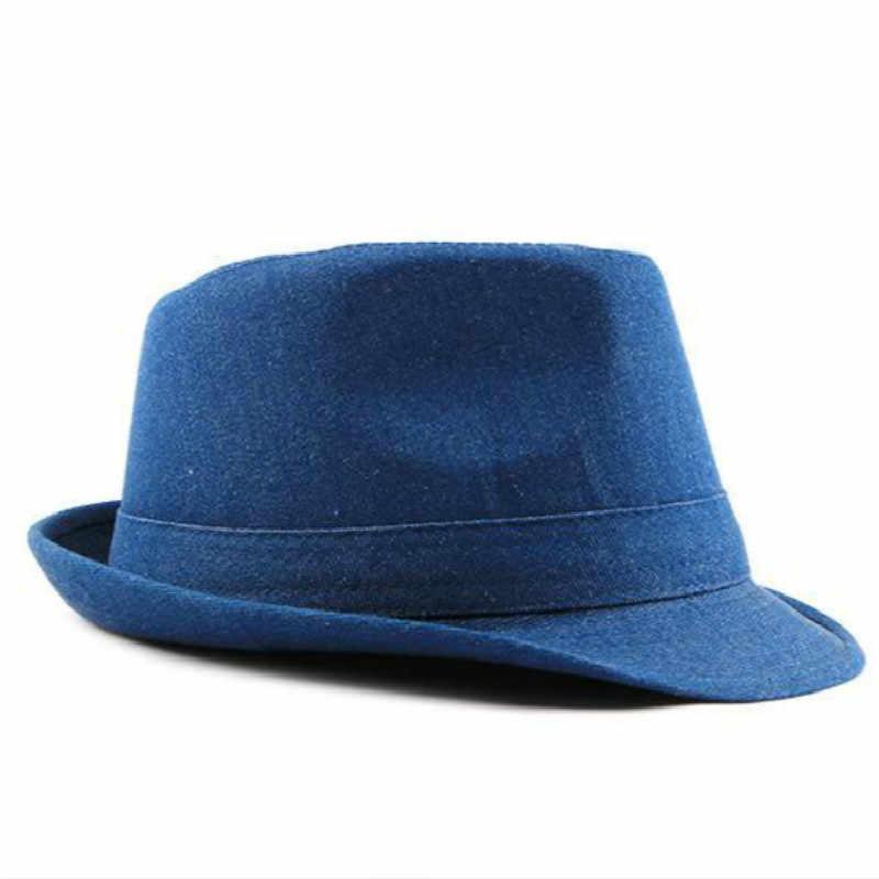 a71874fc3ce ... men denim fedoras solid wide brim jean jazz hat cotton summer male cap  vintage flat men ...