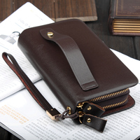 Men Genuine Leather Clutch Bag Double Zipper Brand Men Wallet Cowhide Clutch Wallet Men S Handbag