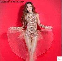 Sequin Bodysuit Singer Costume Jazz Dance Costume Bar Dj Ds Costume Stage Clothing For Women Singer