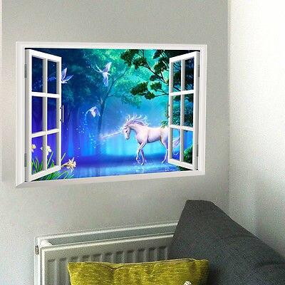 fantasy white horse 3d window wall sticker vinyl decals kids home