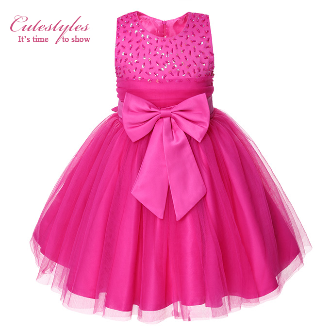 Cutestyles 2017 Girl Party Dress Hot Pink Top Grade ...
