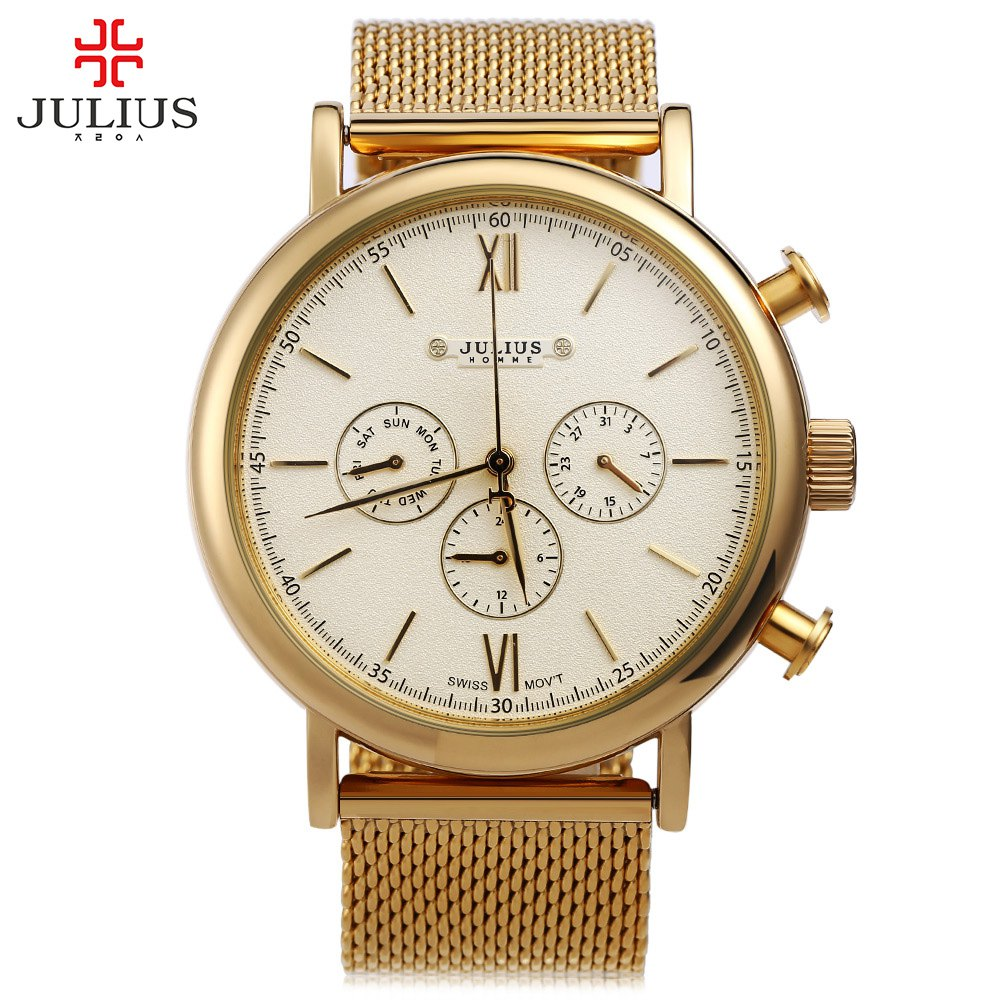 Top Brand Julius Men Watches Luxury Stainless Steel Mesh Band Gold Watch Man Business Quartz Watch Male Wristwatch Relogio homme rosra brand men luxury dress gold dial full steel band business watches new fashion male casual wristwatch free shipping