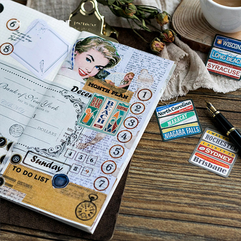 Купить с кэшбэком 45 Pcs/box Creative Vintage nameplate mini Paper Decoration DIY Scrapbook Notebook Album seal Sticker Stationery Kawaii Stickers