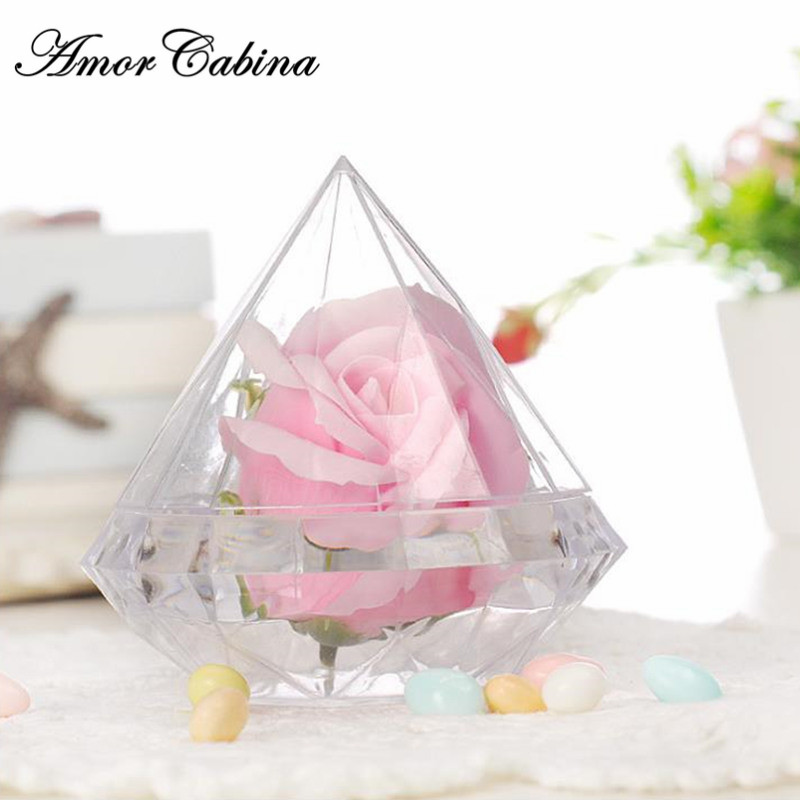 Plastic Box Shape Gift Wedding 30pcs Decorative Childrens Creative Family Candy Diamond Transparent Party Transparent Heavy
