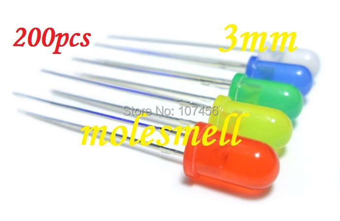 Free shipping 200PCS 5 value 3mm diffused red,yellow,blue,green,white R,G,B,W,Y,LED mixed colors led 40pcs each color