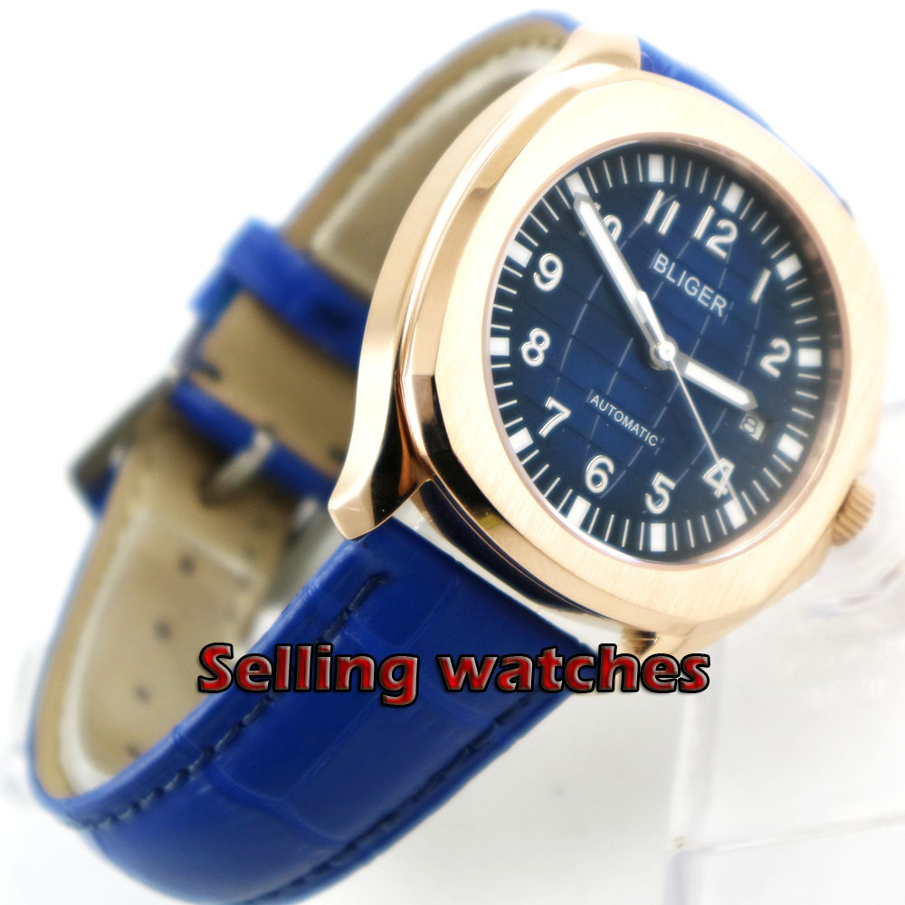 40mm Bliger Gradient navy blue dial date window sapphire glass automatic mens watch40mm Bliger Gradient navy blue dial date window sapphire glass automatic mens watch