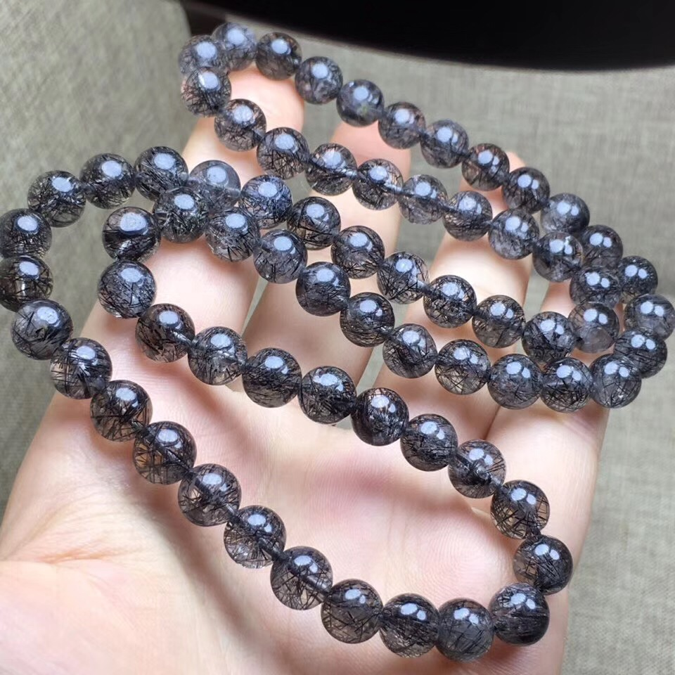 8.1mm Natural Black Rutilated Quartz 3 laps Bracelet From Brazil Round Beads Gems For Women Men Gift Crsytal Bracelets AAAAA