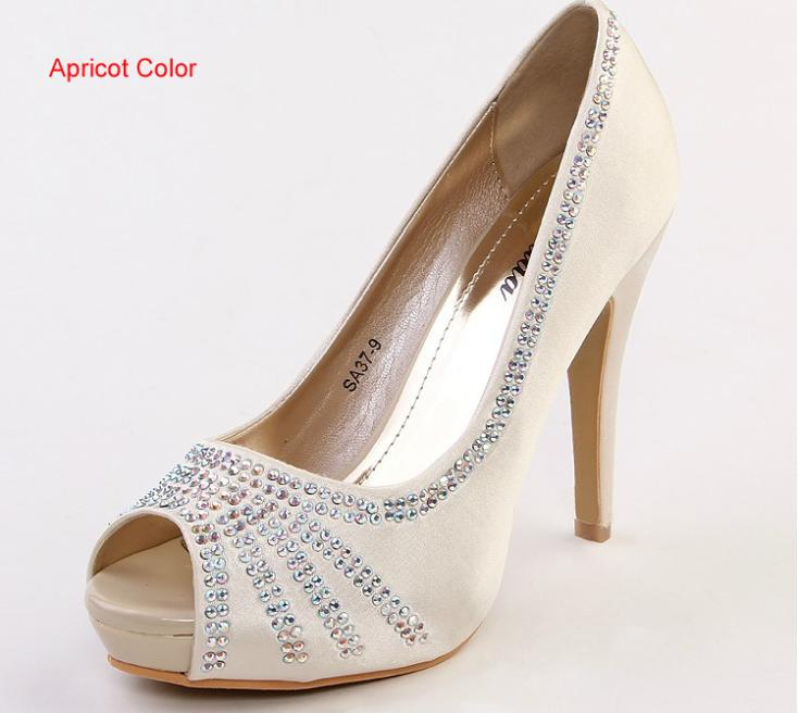 2018 Fashion Peep Toe Apricot Color Bridal Shoes Satin Bridal Shoes Wedding  Shoes High Heel Pumps Woman Rhinestone Shoes-in Women s Pumps from Shoes on  ... a66275c9564c