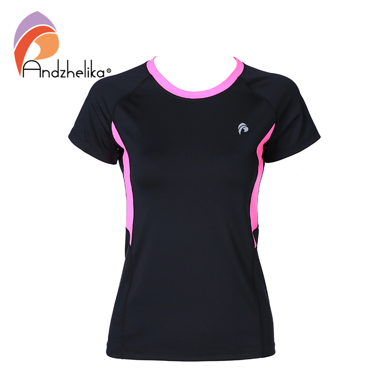 Andzhelika 2018 New Yoga T-Shirt Women Running Shirts Yoga Sport Fitness Patchwork Gym Jogging Top Breathable Clothing Shirts crazyfit mesh hollow out sport tank top women 2018 shirt quick dry fitness yoga workout running gym yoga top clothing sportswear