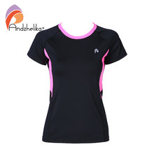 Andzhelika 2018 Neue Yoga T-Shirt Frauen Laufshirts Yoga Sport Fitness Patchwork Gym Jogging Top Breathable Kleidung Shirts(China)