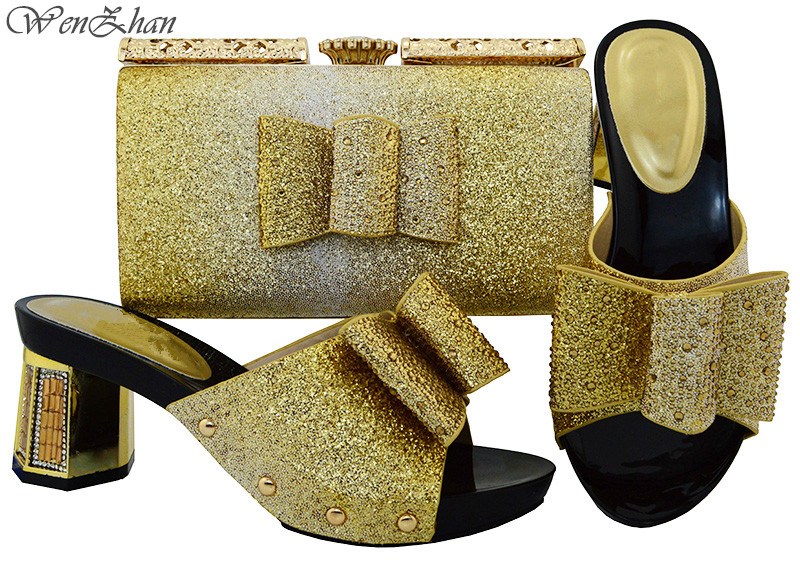 WENZhan Unique Gold Color Shoes and Clutch Bag Sets Matching For Women Italian Shoes and Bag Set Decorated with Rhinestone B81-1 elegant rhinestone bird decorated bracelet with ring for women