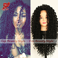 New! 180 Density Long Curly Hair Wigs Heat Resistant Fiber Hair Wigs For Black Women Synthetic Lace Front Wig With Baby Hair