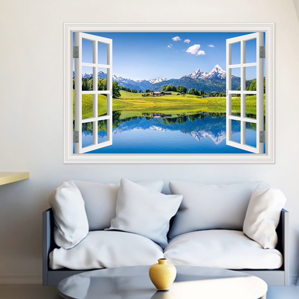 Modern 3D Large Decal Landscape Wall Sticker Snow Mountain Lake Nature Window Frame View Vinyl Home Decor Living Room Bedroom 5