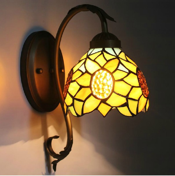Mediterranean vintage stained colorful glass LED E27 bulb wall sconce DIY tiffany retro iron sunflower bedroom bedside wall lamp tiffany baroque sunflower stained glass iron mermaid wall lamp indoor bedside lamps wall lights for home ac 110v 220v e27