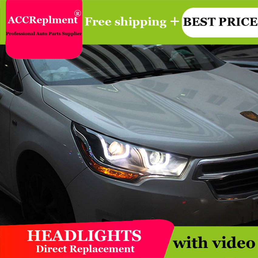 Car Styling for Citroen C4L Headlights 2014 C4 LED Headlight DRL Lens Double Beam H7 HID Xenon bi xenon lens high quality car styling case for citroen quatre c4 2012 2017 headlights led headlight drl lens double beam hid xenon