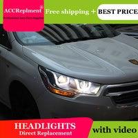 Car Styling for Citroen C4L Headlights 2014 C4 LED Headlight DRL Lens Double Beam H7 HID Xenon bi xenon lens