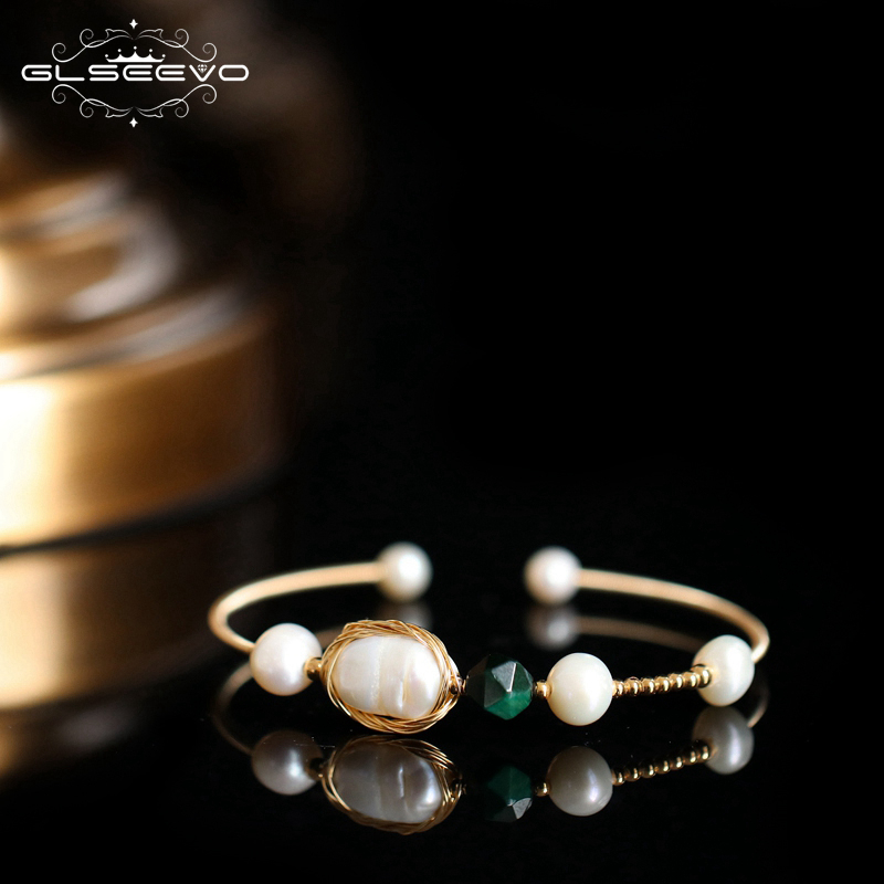 GLSEEVO Handmade Natural Fresh Water Pearl Stone Adjustable Bangle For Women Wedding Party Jewellery Bransoletka Armband GB0127
