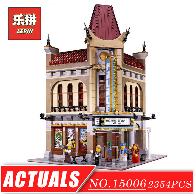 LEPIN 15006 Street View Series Model Building Kits Blocks Bricks Palace Cinema Set DIY Children Toys Christmas Gift legoingly single sale christmas santa claus figure elk and sled xmas legoingly model building blocks set model kits toys gift for children