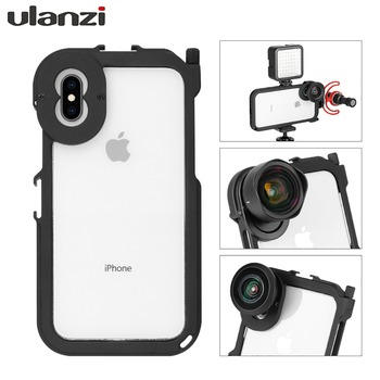 """ULANZI Metal Bumper Frame Rig Cage for iphone XS XS-MAX, with Cold Shoe 1/4"""" Thread Hole 17mm mount for Phone Moment lens Tripod"""