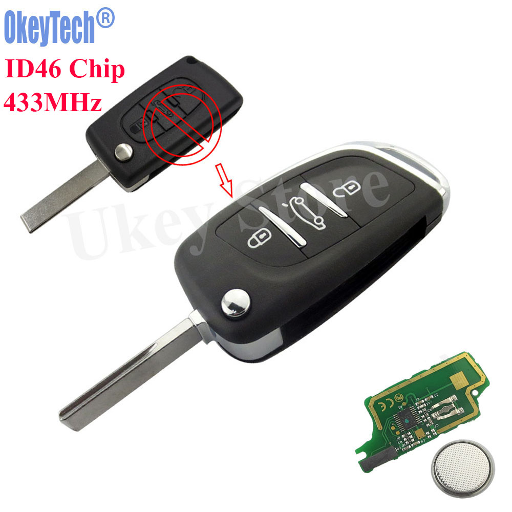 OkeyTech 3 Button Remote Key Fob ID46 PCF7961 Chip 433MHz For Peugeot 307 408 308 For Citroen C2 C3 C4 C5 C6 Xsara Grand Picasso